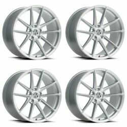 Set 4 22 Victor Equipment Zuffen 22x10.5 Silver W/ Brushed Face 5x130 56mm Rims