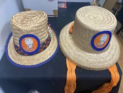 1967 Vintage Rare Sga New York Mets Mr. Met Set Of Two Mr And Mrs Hats