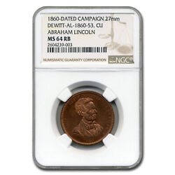 1860 Lincoln Campaign Medal Ms-64 Ngc Red/brown - Sku227068