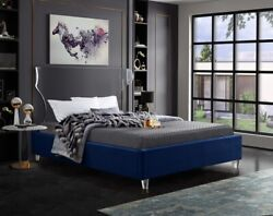 Twin Size Bed Navy Velvet Bedroom Furniture Contemporary Eye Catch Acrylic Leg