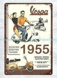 Vintage Reproduction Signs Vespa Scooter 1955 Metal Tin Sign
