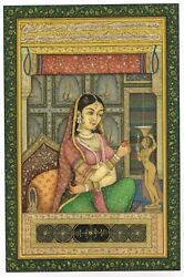 Indian Miniature Painting Of Queen Burning The Lamp Finest Artwork On Paper