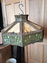 Lt 5 Antique Stained Glass Hanging Chandelier