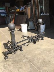 One Set Antique Cannon Ball Hand Hammered Fireplace Andirons With Bar