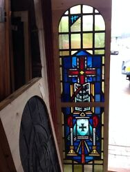 Sg 216 Antique Painted And Fired Religious Window Candles And Bible And Cross