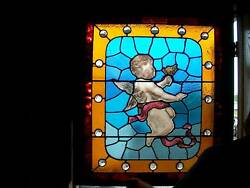 Leaded Stained Glass Angel Cherub Window - Painted Antique =