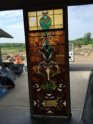 Ca 10 Antique Stained Glass Landing Window With Jules 36 X 8and039