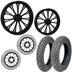 Rc Imperial Black 21/18 Front Rear Wheel Package Set Tires Rotors Harley Flh/t