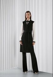 St. John Black Leather Long Belted Trench Vest Size Small