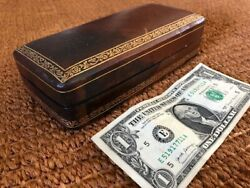 Antique Leather Box With Gilded Decoration