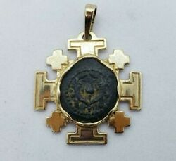 Widows Mite Coin 14k Yellow Gold Aber And Levine Cut-out Jerusalem Cross Pendant