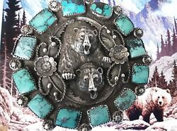 115 Gram Buckle Sterling Silver, Turquoise 3d Charging Grizzly Attack Signed
