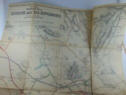 Scarce 1913 Railway Clearing House London Cloth Linen Dissected Map