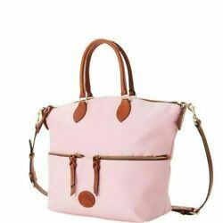 NWT DOONEY amp; BOURKE LARGE POCKET SATCHEL CROSSBODY LEATHER TRIM LIGHT PINK $159.00