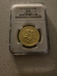 2001 Australia Lunar Year Of Snake 1 Oz Pure Gold G100 Coin Ngc Ms68