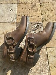 Vintage Fry Womens Ankle Harness Boots Slides Booties Brown Leather Size 9.5 M