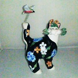 Amy Lacombe Whimsiclay 2003 FLOWERS amp; BIRD CAT Annaco Creations 24810 Adorable