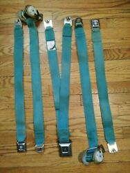 1960and039s-1970and039s Gm Cadillac Eldorado Front Seat Belt Set Turquoise Great Shape