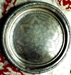 Large Antique Islamic Persian Metal Tray Silver Plated Table Alter