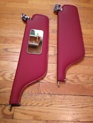 1965-68 Full Size Cadillac Buick Gm Red Sun Visors + Mirror - Excellent Shape