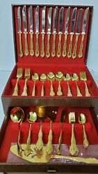 Gold Electroplate Oxford Hall Stainless83 Pieces + Case