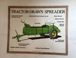 John Deere Training Poster, Tractor Drawn Spreader And Horse Drawn Mower 1940's,