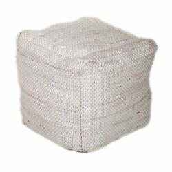 Parkland Collection Lina Transitional White Pouf