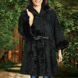 Womenand039s Black Real Broad Tail Fur Coat Mink Fur Trim Collar And Cuff All Sizes 35