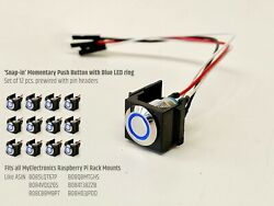 Set Of 12x Snap-in Momentary Push Button With Blue Led Ring