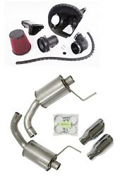 Roush V8 Cold Air Intake System Kit And Exhaust Round Tip For 15-17 Ford Mustang