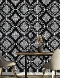 2-damask Print Black/white Wallpaper Wall Accent Self Adhesive Contact Paper