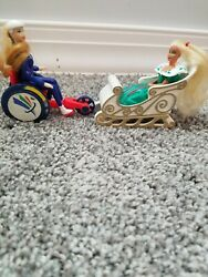 Vintage Little Barbies Toy Paralympic And Barbie In Sledge