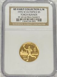 1995-w 5 Us Vault Collection L/m Olympic Torch Runner Five Dollars Ngc Pf69ucam