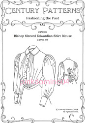 1905-1908 Edwardian Bishop Sleeve Blouse Pattern Bust 30 To 48 Inches Century.