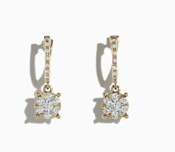1.10ct Natural Round Diamond 14k Solid Yellow Gold Stud Earring