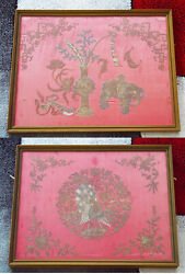 Antique Chinese Embroidered Silk Hanging Panel Embroidery Qing Dynasty