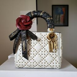 4300 Lady Dior Black Mini Off White Gold Stud Thick Strap Limited Bag