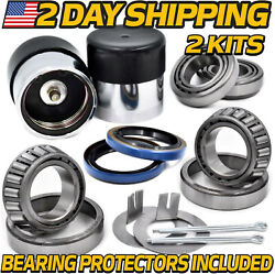 2kit Cargo Utility Trailer Bearing Kit For 1-1/16 Inch Spindles W/protectors