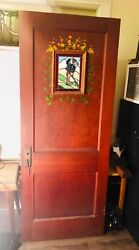 Antique Heavy Wood Door Painted Stained Glass Windows Folk Art Rare