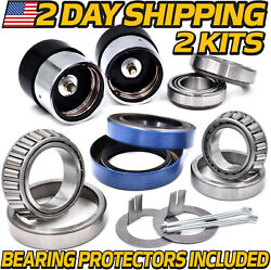 2kits Sport Utility Cargo Trailer Bearing Kit 1-1/16 And 1-3/8 Inch W/protectors