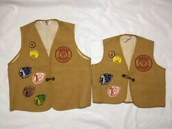 Ymca Father And Son Indian Guide Vests Patches Pins 1970's Set Of 2 Velvasheen
