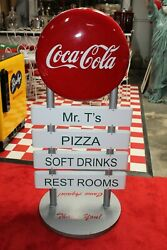 Coca-cola Soda Advertising Double Sided Curb Sign Reproduction