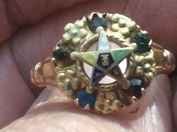 Vintage Womens 14k Gold Oes Eastern Star Masonic Ring Size 9 Jeweled