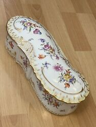 Antique Dresden China Germany Hand Painted Porcelain Large Box Circa 1869 Rare