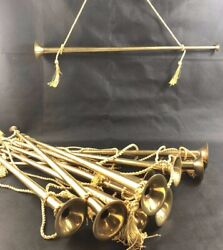 """One Vintage Brass Straight Horn 23"""" Long Gold Tassel Cord Prop Decorative"""