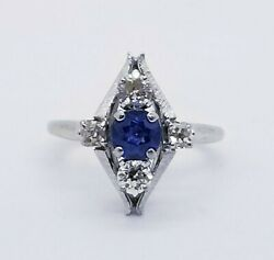 6,500 Jabel 1900's 1.32ct 18kt White Gold Royal Blue Sapphire And Diamond Ring