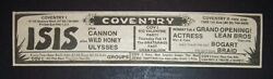 Isis, Actress Brats, Coventry Rock Club, Queens, Nyc 1974 Concert Ad Glam Rock