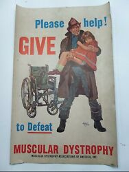 Vntg Please Help Give To Defeat Muscular Dystrophy Fireman Poster-basil Gogos