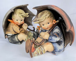 Rare Vintage Hummel Goebel Umbrella Boy And Girl Pair 152/a And152/b 8 Tall