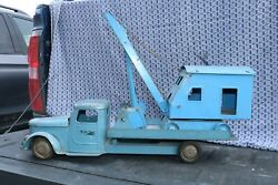 Structo Pressed Steel Crane On Flat Bed Truck Equipment Hauler - Made In Usa